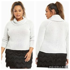 EUC Torrid Light Gray Cropped Cowl Neck Sweater